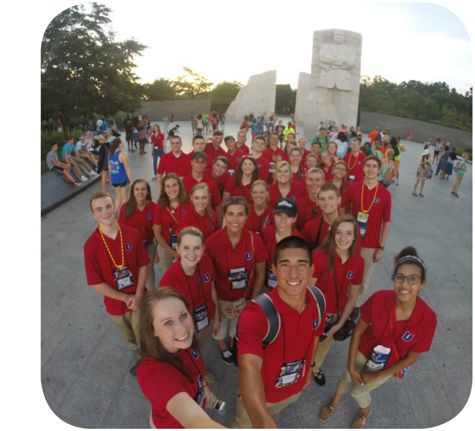 Youth tour group selfie